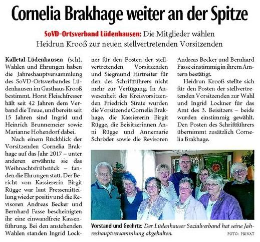 SoVD-Ortsverband Lüdenhausen: Cornelia Brakhage weiter an der Spitze